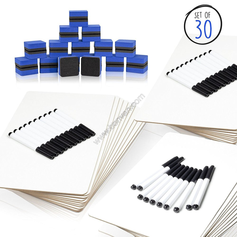 30 pack lapboard whiteboard with marker eraser
