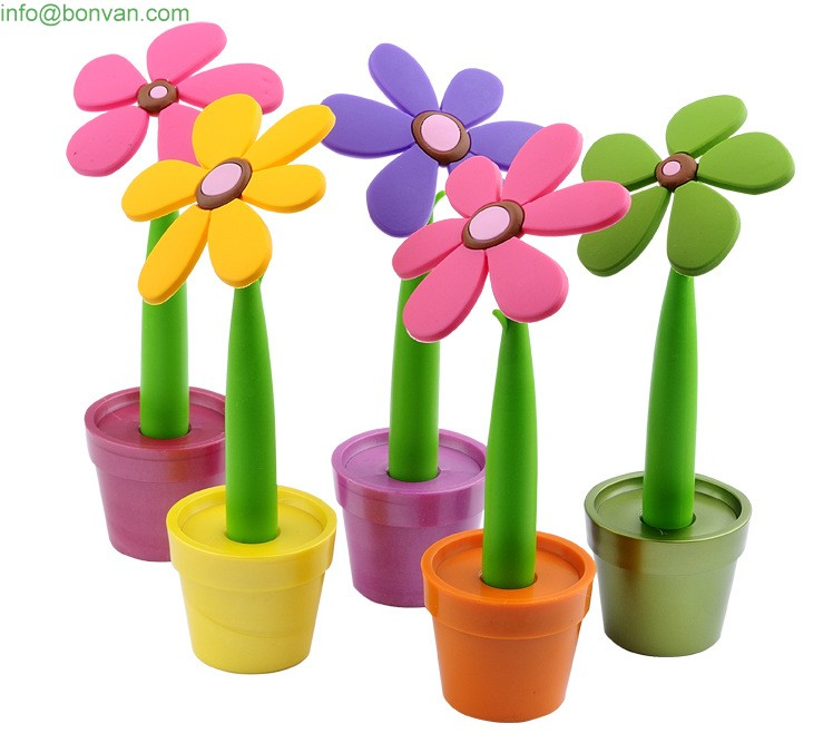 plastic cartoon pen,flower pen