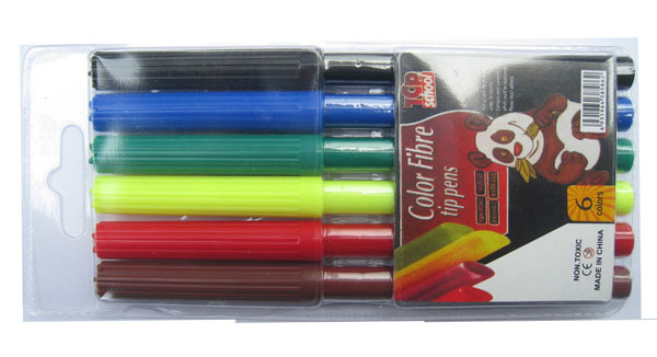 PVC bag 6pcs packing watercolor marker